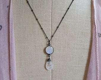 Moonstone Pendant Oxidize Sterling Silver Chain Necklace