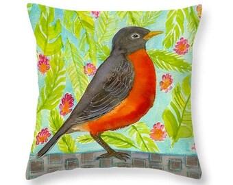 Bird Decor, Robin Throw Pillow, Nature Inspired, Cotton Accent Pillow, Living Room Pillows by Blenda Tyvoll