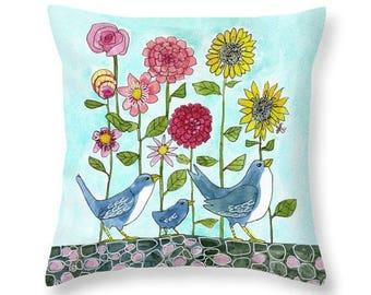 Floral Throw Pillow, Flowers, Birds, Art Pillow,  Daisies, Sunflowers, Blue, Green, Yellow, Pink, Watercolor Art, Cotton Pillow