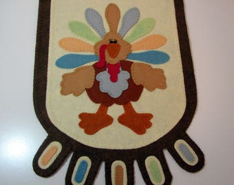"Hand Stitched 42-1/2"" x 13"" IRVING THE TURKEY - Primitive - Folk Art - Wool-Felt - Thanksgiving Table Runner - Penny Rug - Fiber Art - Wool"