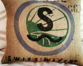 Reclaimed burlap coffee sack Pillow with S Swiss Water Logo