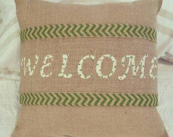 Handpainted Burlap Pillow Wrap with Welcome in green