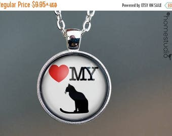 ON SALE - Love My Cat : Glass Dome Necklace, Pendant or Keychain Key Ring. Gift Present metal round art photo jewelry by HomeStudio