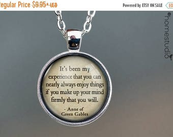 ON SALE - Green Gables (Mind) Quote jewelry. Necklace, Pendant or Keychain Key Ring. Perfect Gift Present. Glass dome metal charm by HomeStu