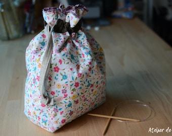 Project bag Knitting bag crochet bag drawstring bag floral prints knittingbag crochetbag White floral