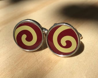 Red Swirl Cufflinks made from Vintage Tins.  Mens cufflinks.  Womens cufflinks.  Gifts for men and women.  Mens birthday gift.
