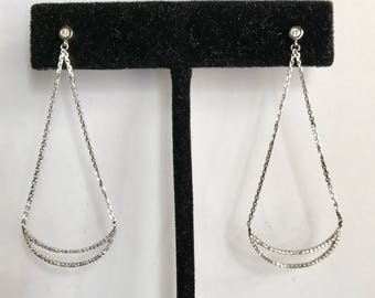 Diamond crescent moon pave diamond dangle chandelier earrings