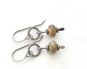 jasper and silver earrings, rustic gray stone earrings, oxidized jewelry, metalwork earrings, silver earrings