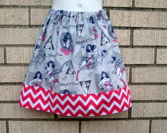 Gray and Hot Pink WONDER WOMAN Girls skirt , 6M to size 8