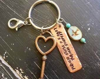 Fleetwood Mac ~Metal stamped Stevie Nicks Style ~ hammered copper keychain ~ dreams unwind loves a state of mind ~ Rhiannon