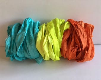 Silk Sari Ribbon-Aqua, Lemon Lime, Orange Recycled Sari Ribbon-9 Yards