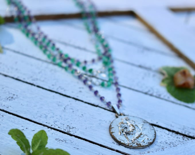 Antique Saint Christopher with Green Onyx, Amethyst, and Swarovski Crystal