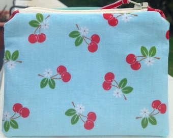 Cherry zipper bag small zipper bag cute zipper pouch coin purse teacher gift birthday gift