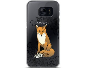 Fox & Scroll Cell Phone Case Samsung Galaxy S7, S8, S8+, S7 Edge Foxes Woodland Creatures