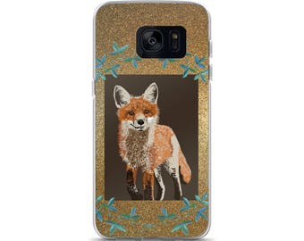 Fox & Leaves Cell Phone Case Samsung Galaxy S7, S8, S8+, S7 Edge Foxes Woodland Creature