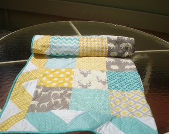 Baby quilt handmade, Baby boy or girl bedding quilt, teal, grey, yellow, Deer Bear Crib quilt, rustic, woodland, toddler,Woodsy,Sea and Sun2