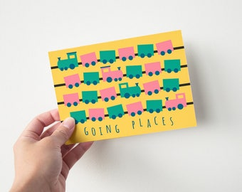 Going Places - graduation / congratulations card - blank/folded