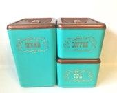 Vintage Canister Set Aqua Bronze Copper Colour Sugar Coffee Tea