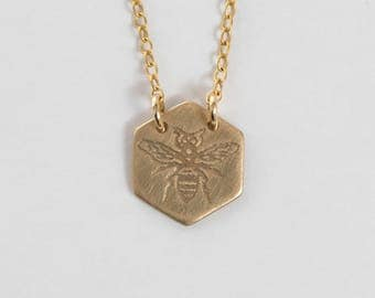 Bee Necklace - Hexagon Necklace - 10k Gold Necklace - Gold Bee Necklace - Honeybee Jewelry - Bee Charm - Delicate Necklace - Honeybee
