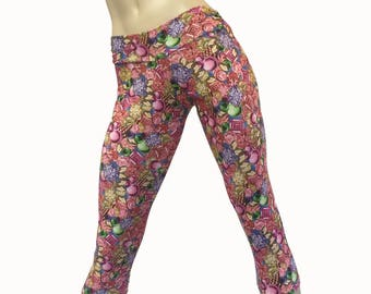 SALE s/m - Yoga Pants - Workout Clothes - Hot Yoga - Fitness - Pink - Diamonds - Low Rise - Capri - Tights - SXY Fitness - Handmade - USA -