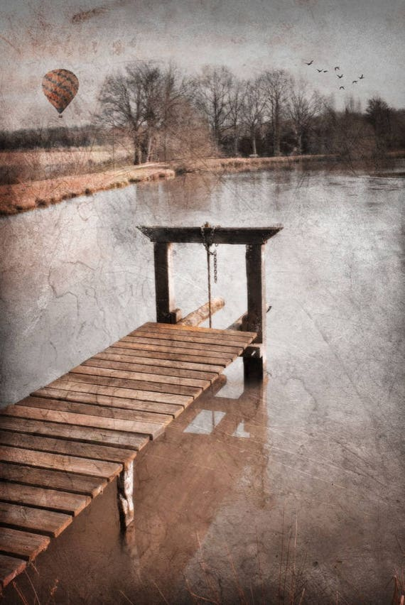 Pier,Autumn Decoration,Cabin Decor,Rustic Nature,Fall Decor,French Country,french photo art,travel decor, hot air balloon,air balloon decor