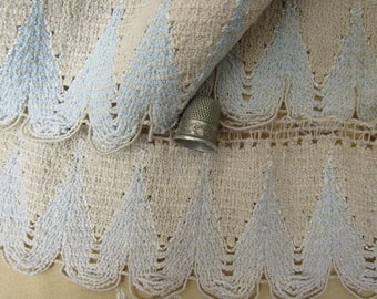 """83 Inches Antique Boucle Yarn SWAG Fringe BLUE & CREAM Fabric Trim Edging  3-1/4"""" Wide Knitting Clothing Crafts Sewing Doll Childrens Pillow"""