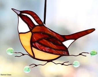 Carolina Wren Stained Glass Suncatcher
