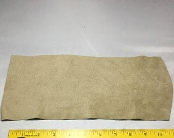 "BEIGE TAUPE Suede Lambskin Leather Hide Piece #4 5x11"""