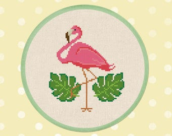 Pink Flamingo. Cute Simple Modern Tropical Leaves Flamingo Bird PDF Counted Cross Stitch Pattern Instant Download