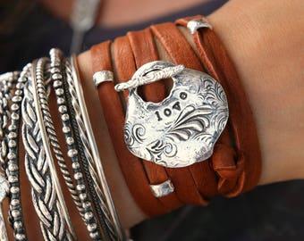 Bohemian Bracelet, Bohemian Leather Wrap Bracelet, Boho Love Bracelet, Bohemian Jewelry Boho Chic Fashion Love Jewelry Wrap Bracelet 5 Times