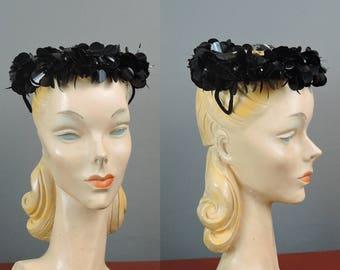 Vintage Hat Black Sequins Spangles on Black Velvet, Evening Cocktail Hat with netting Top