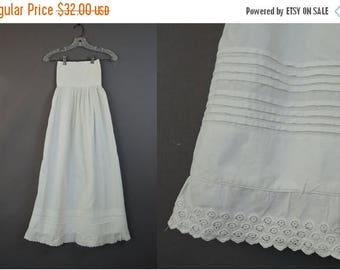 20% Sale - Victorian Baby Slip, 38 inches long, 20 inch chest, Vintage Antique 1800s Long Cotton Christening Gown Slip