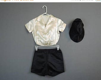 20% Sale - Vintage 1930s Girl's Dance Costume White Satin Top, Black Shorts & Hat