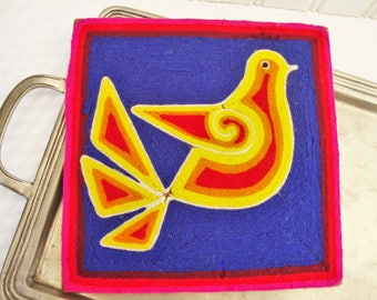 mexican huichol yarn art vintage bird picture
