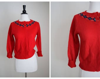 70s argyle sweater / red and blue sweater / red argyle sweater