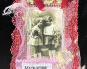 Postcard Quilt, Shabby Chic, Embellished Hang Gift Tag, Mini Art Quilt, Collage Vintage Laces, wedding lace, brides fabric, antique lace,
