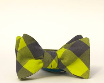 lime and gray bow tie // mens self tie bow tie // buffalo plaid bow tie