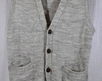 Classic Vintage Men's Gary Reed Knitted Gray Button-Up Vest - Button Up - Acrylic Polyester - Made in Taiwan