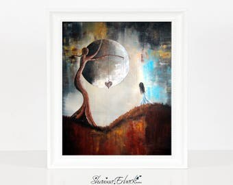 Wishing Tree - Surreal Fantasy Art Print - Alice In Wonderland - Alice In Other Lands - Gothic - Full Moon - Gothic Art - Art - Original Art