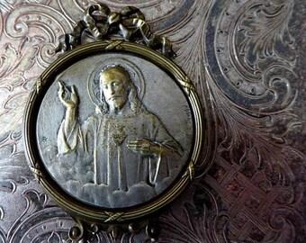 ON SALE French Belle Époque Catholic Sacred Heart Of Jesus Christ, Metal Shrine, Jean Bapiste Emile Dropsy, Portable Devotional Picture With