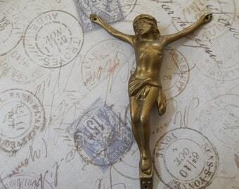 ON SALE World War II Era Large Vintage Brass Finish Corpus Christi, Crucifix Element, Body Of Christ Found Object