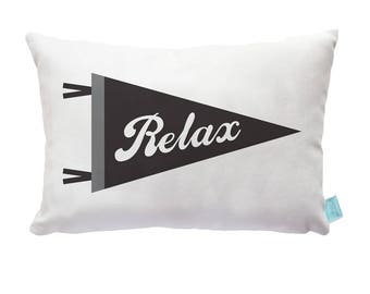 Relax Children's Cushion, Kids Throw Pillow, Pennant Pillow, Decorative Pillows, Kids Bedding, Boys Bedding, Accent Pillow, Boys Room Decor