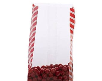 New Years Sale 20 Pack Red Side Stripe Clear View Poly Bags 3.5 X 2 X 7.5 Inch Size