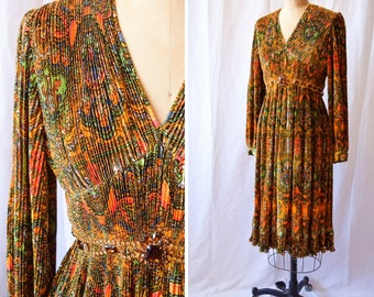 Vintage Shannon Rodgers for Jerry Silverman | 1970s Dress Fortuny Style Pleated Dress Jeweled Belt Multi-Colored Stained Glass Print Bust 34