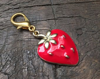 Red Strawberry Zipper Charm