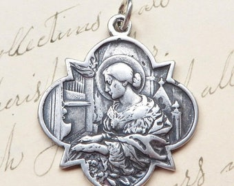 ON SALE Sterling Silver St Cecilia Medal - Patrons of girls, musicians, poets, engaged couples