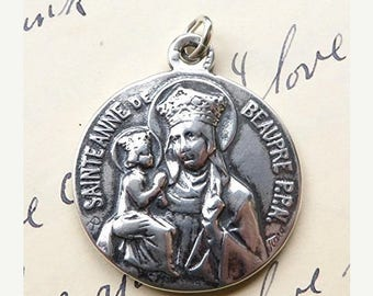 ON SALE St Anne Medal - Patron of mothers and grandmothers - Antique Reproduction