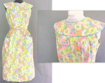 Vintage 1950's Floral Wrap Dress by Swirl, Modern Size 8, Small