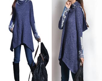 SALE - water cloud - cowl neck hoodie tunic / blue hoodie / cowl neck sweater shirt / idea2lifestyle tunic top (Y1520T)