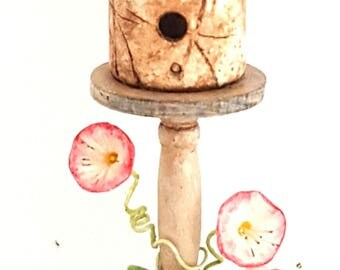 1:12 scale fantasy fairy birdhouse on stand with tiny flowers